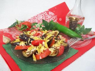 Постная овощная закуска из помидор и баклажан. Рецепт с фото