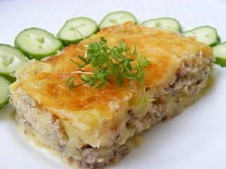 Пирог из картофеля и рыбных консервов