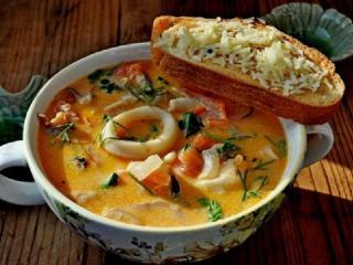 Суп с морепродуктами. Вкусный оригинальный рецепт супа.<br> Рецепт первого блюда