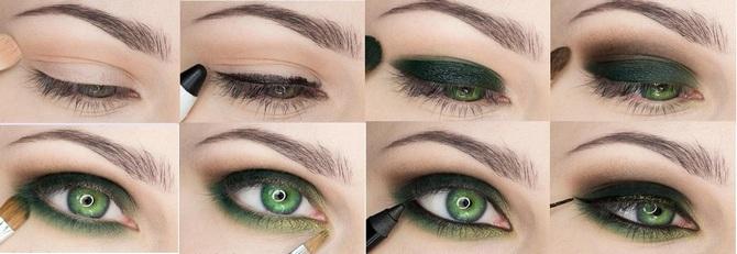 Дневной макияж для зеленых глаз с пошаговым 67