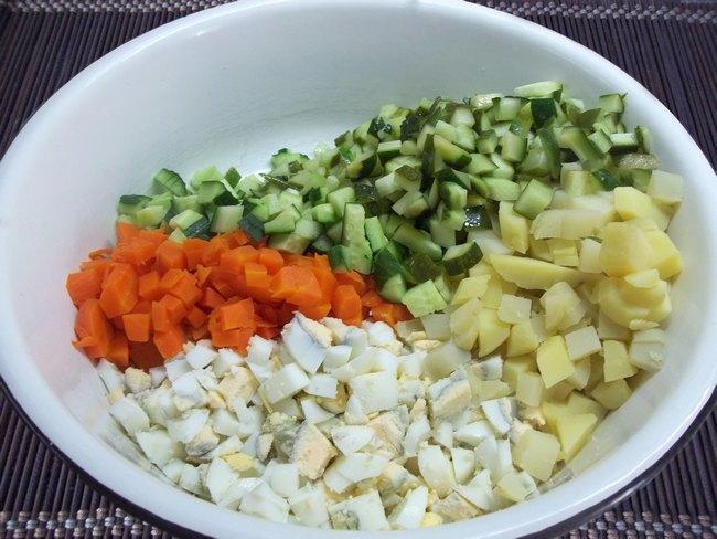 Салат оливье без огурцов рецепт