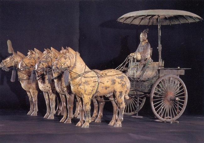 Терракотовая армия — это скульптуры воинов, лошадей и нескольких колесниц, обнаруженных в 1974 году к востоку от горы Лишань в районе китайского города Сиань.