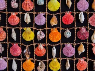 Пушистый цветной коврик-панно